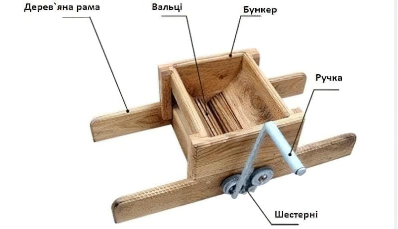 Схема виготовлення виноградної дробарки