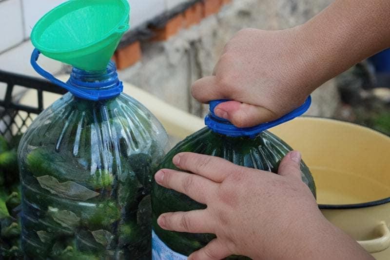 Солоні огірки в пластиковій пляшці на зиму 7