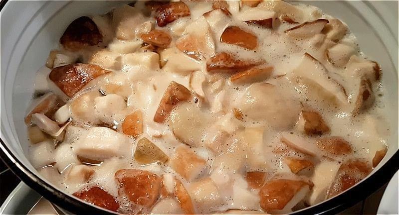 білі гриби очищаємо, промиваємо, нарізаємо і ставимо варитися на 20 хвилин