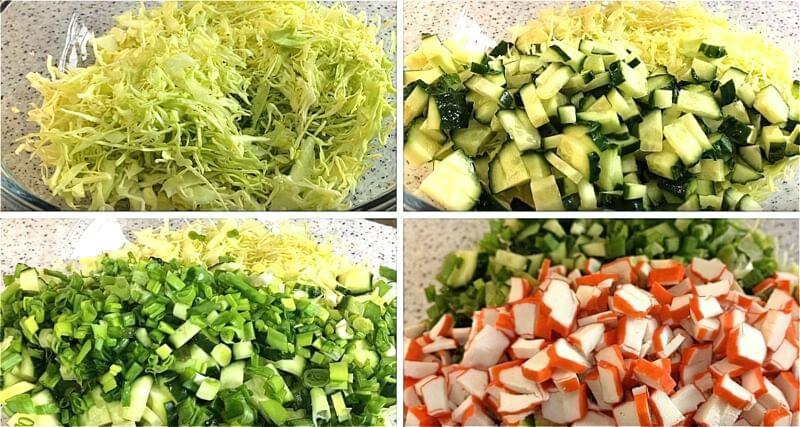 нарізаємо капусту, огірки, зелену цибулю і крабові палички