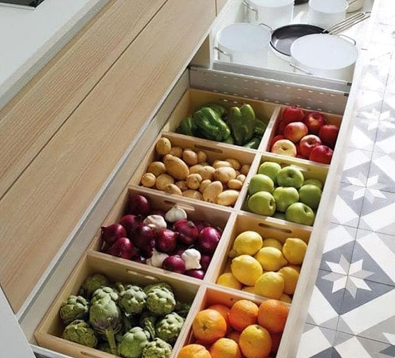 Оригінальні ідеї зберігання овочів і фруктів на кухні 2